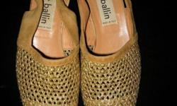 Elegant gold leather Italian pre-loved strappy mesh