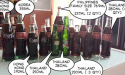 Vintage Coca Cola Glass Bottles collection from Asia.