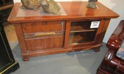 Vintage Looking Solid Wood TV Console with Cabinet and