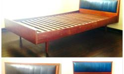 Rare Vintage Teak Single Bed Frame. Comes with unusual
