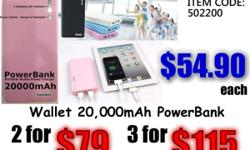 Wallet 20000mAh PowerBank Portable Charger 2 USB LED