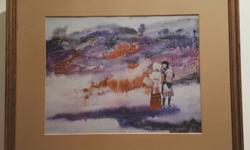 Watercolour Art Painting In Gold Wood Frame by Cai