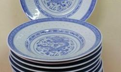 WTS 15 pcs preloved white & blue dinner plates. Good