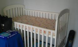 White color baby cot. Good condition. Seldom use. 135cm