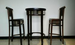 Table: 24in. dia. x 39 in. tall Stools: 18in. deep x 28