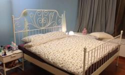 White Bed Frame with base Double (180 x 200 cm) Used