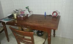 very good condition wooden dining table + 4 wooden