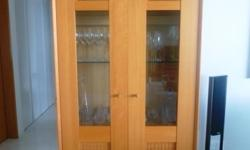 Wooden display cabinet with internal light. Dimensions: