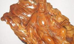 Wooden Goodess of Mercy on Lotus statue.Height