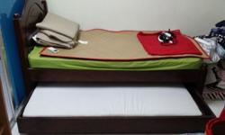 Solid wooden single bed 2 layer with dunlop mattress
