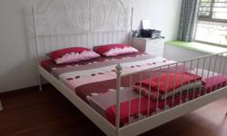 Wrought Iron King size Bed with Mattress. Less than 1