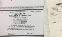 Looking for 3 x 1st April Coldplay Tickets. Will pay