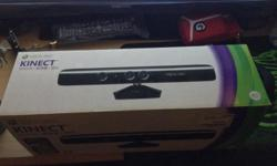 xbox kinect sensor with box and games..condition 9.5/10