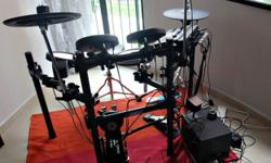 3 toms 1 snare 2 cymbals 1 set of double pedals + bass
