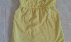 Yellow Tube Top Size S with stretchable elastic back