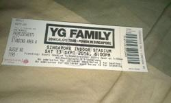 Front Row YG concert tickets at Singapore Indoor
