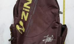 Zinc brown backpack. With extra thick black padding on